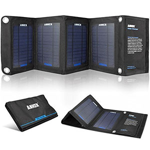 Anker 14W Solar Panel Foldable Dual port Solar Charger camping things to pack for hiking in backpack portable power