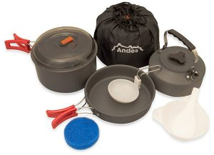 andes portable camping set for cooking anodised aluminium cookware set for trekking pots and pans for campsite kitchen