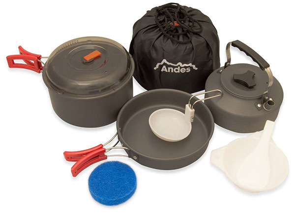 camping cooking gadgets andes portable camping set for cooking anodised aluminium cookware set for trekking pots and pans for campsite kitchen