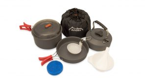 camp cooking Andes Portable Camping Anodised Aluminium Cookware cooking Set Pots and Pans camping things to bring trekking